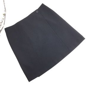 Ann Taylor Black Wrap Lined A-Line Skirt